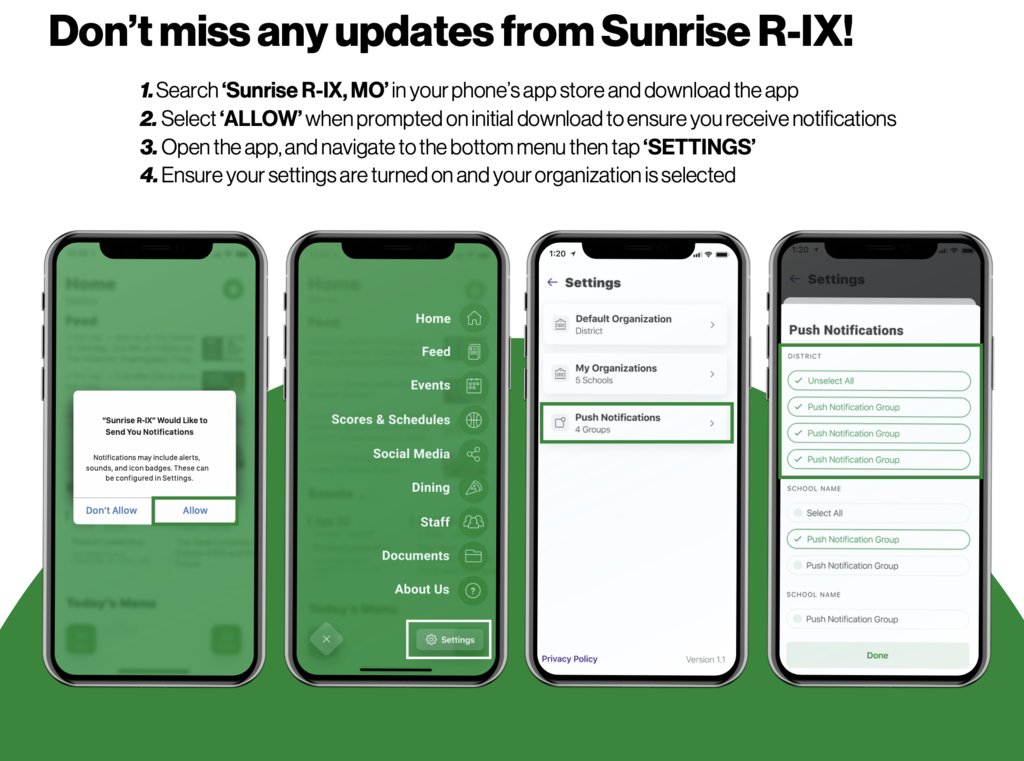 sunrise app notifications